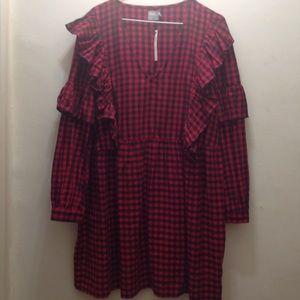 ASOS NWT Buffalo Plaid Tunic Dress with Ruffles